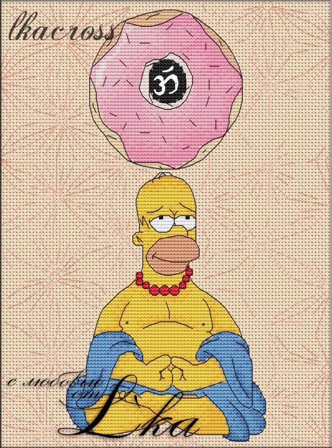 Схема для вышивки крестом Гомер