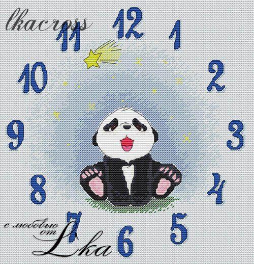"""Схема для вышивки крестом Часы """"Пушняшки"""" Blue"""