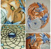 Схема для вышивки крестом Ловец снов - Лис2. Отшив
