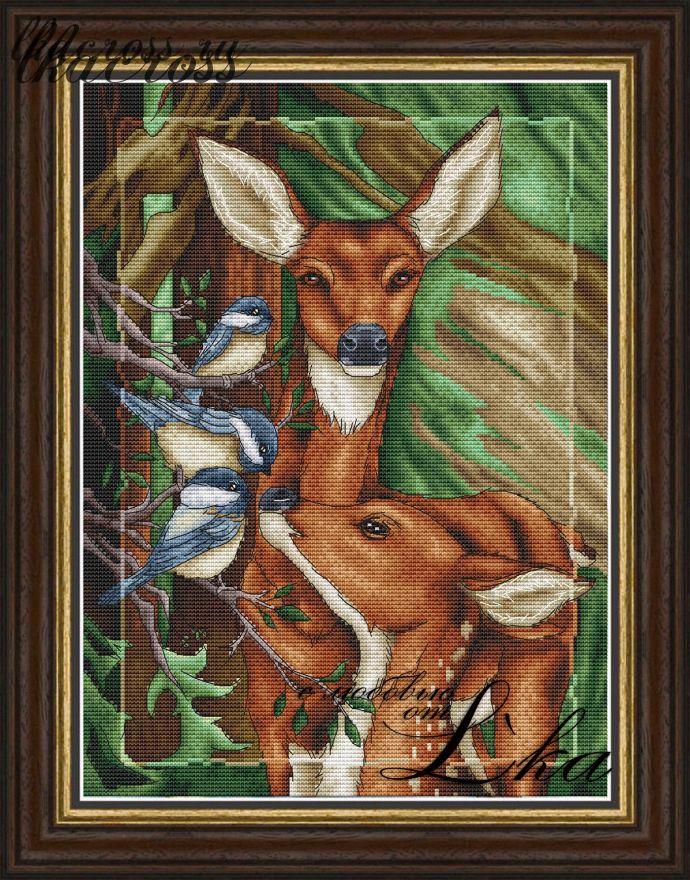 Схема для вышивки крестом Жители леса - Олени