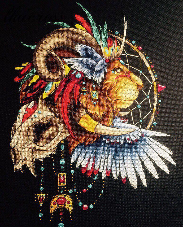 Схема вышивки крестом Ловец снов - Лев1. Отшив.