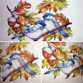 Схема для вышивки крестом Трудолюбивые птички. Отшив