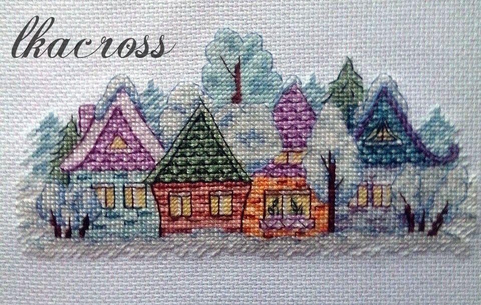 Схема для вышивки крестом Деревенька. Отшив.