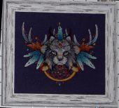 Схема для вышивки крестом Ловец снов - Рысь. Отшив