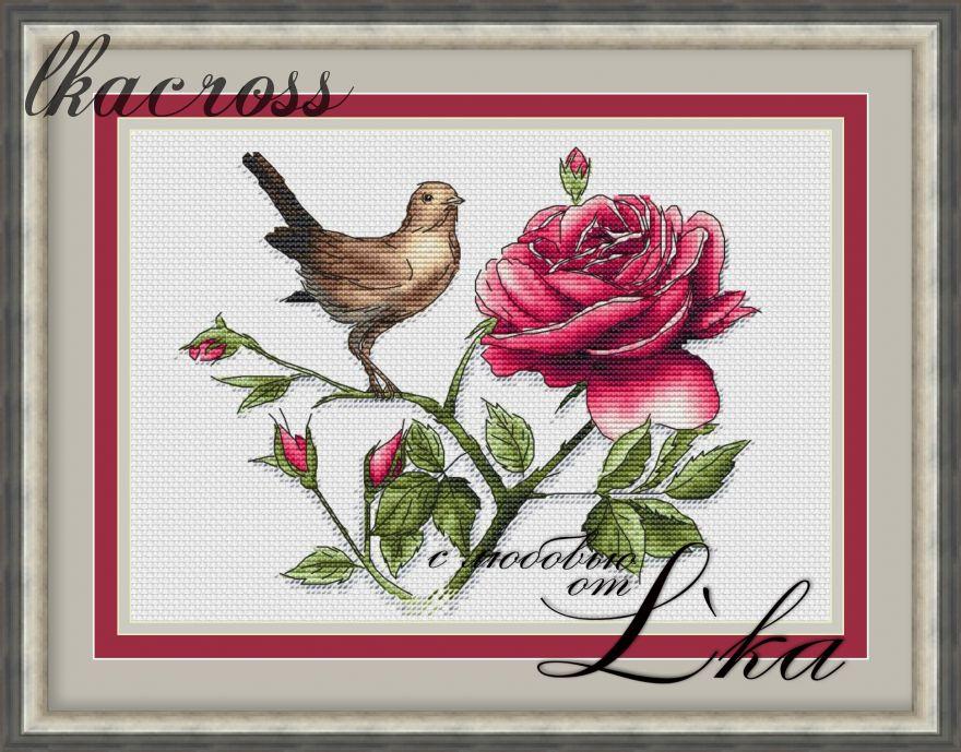 Схема для вышивки крестом Соловей и роза