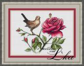 Схема для вышивки крестом Соловей и роза.