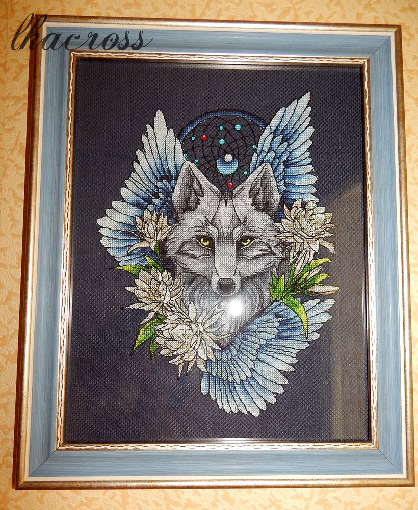 Вышивка крестом волк ловец снов